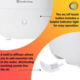 Indoor 3.5L Top Fill Ultrasonic Mister Humidifier, White