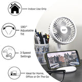 "4"" 3-Speed Rechargeable Personal  Fan w/Wireless Charger, White"