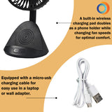 "4"" 3-Speed Rechargeable Personal Fan w/Wireless Charger, Black"