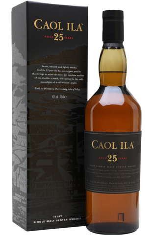 Caol Ila 25 Year Old Islay Single Malt Scotch Whisky Distillery Bottling 70cl 43%