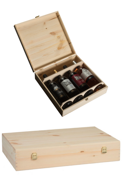 Wooden Wine Box x 4 Bottle