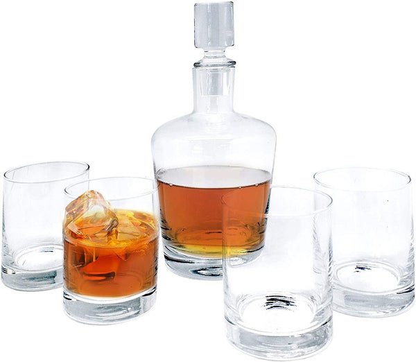 Whisky Decanter and 4 Whisky Tumblers - Vin Bouquet
