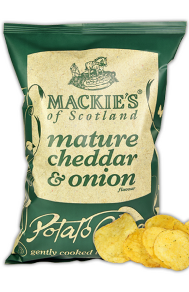 Mackie's Crisps - mature cheddar & onion 150g