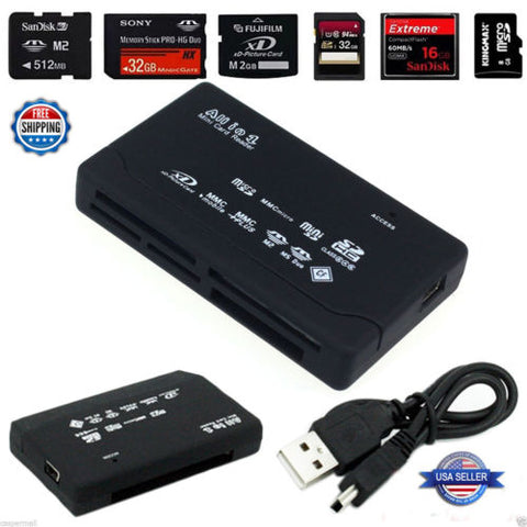 Mini Memory Card Reader 26-IN-1 USB 2.0 High Speed For CF xD SD MS SDHC