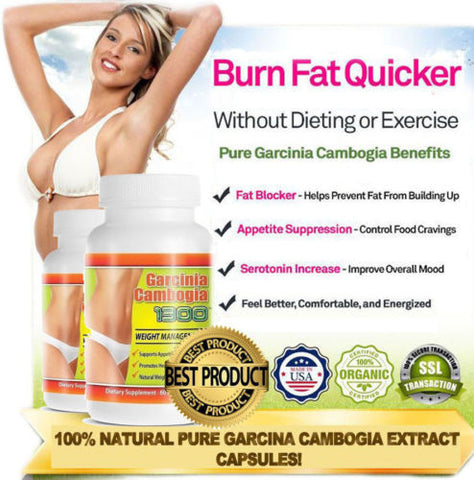 100% Pure Garcinia Cambogia 1300 mg 60% HCA Weight Loss Fat BURNER Diet Pills