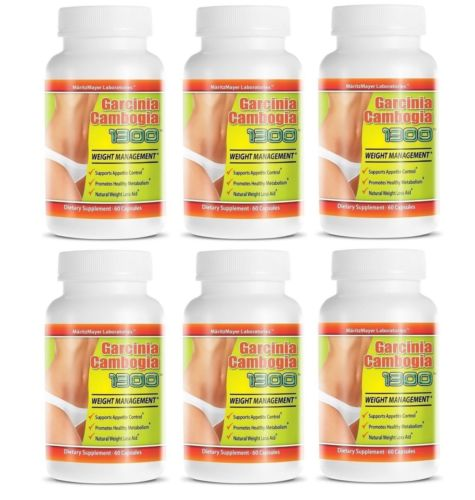 Garcinia Cambogia Extract 1300 Weight Management Contains 60% HCA 6 Bottles