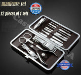 Professional 12PCS Pedicure / Manicure Set Nail Cleaner Cuticle Grooming Kit New
