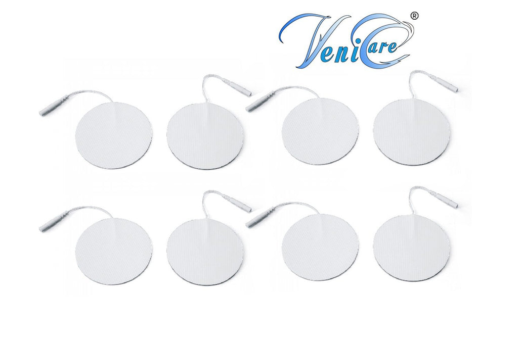 "VeniCare 2"" Rounded TENS Unit Electrodes 8 Pack TENS Unit Electrode Pads for TENS Massage EMS Palm Echo"