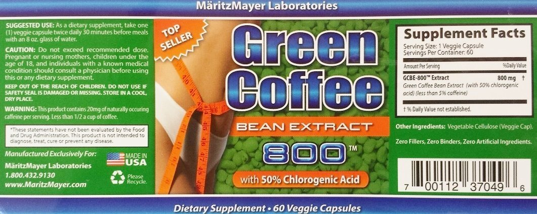 Maritzmayer Laboratories Green Coffee Bean Extract 800 Mg Per