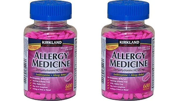 Kirkland Brand Diphenhydramine HCI 25 Mg - SOHnxV - Allergy Medicine and AntihistamineCompare to Active Ingredient of Benadryl Allergy Generic, 2 Pack (600 Count)