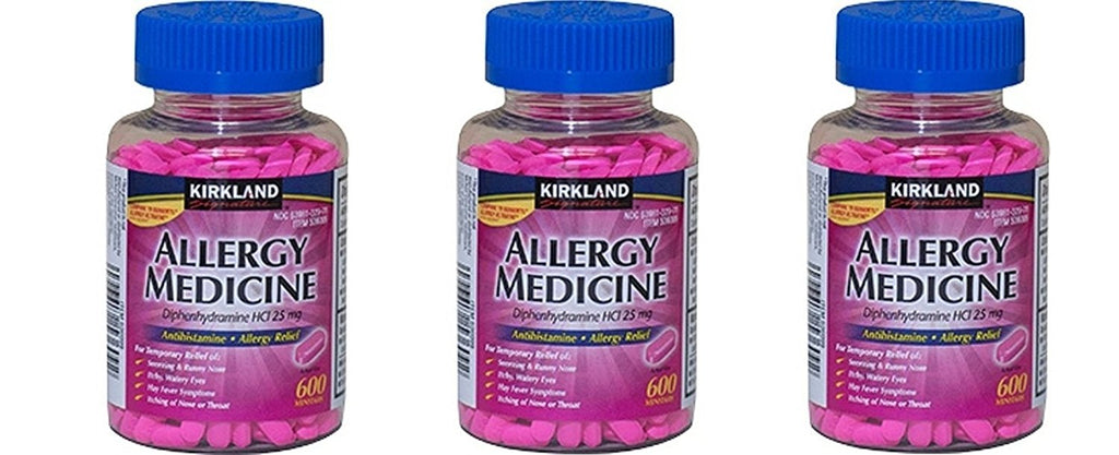 Kirkland Brand Diphenhydramine HCI 25 Mg - hctVwp - Allergy Medicine and AntihistamineCompare to Active Ingredient of Benadryl Allergy Generic, 3 Pack (600 Count)