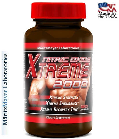 Xtreme 2000 Nitric Oxide Booster L Arginine Improve Strength Recovery 90 Capsules.