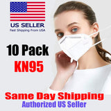 VeniCare 10 Pieces KN95 Mask for Air Pollution, Dustproof Mouth Cover, KN95 Disposable Face Maskfor Germs Protection, Men Women Adult Child Medical Mask for Work and Home White