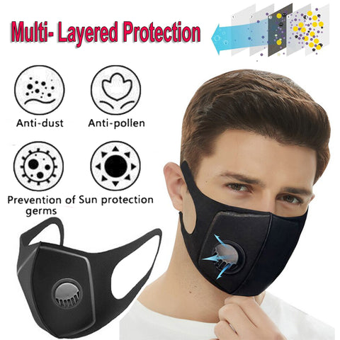 Flu Supply Air Purifying Face Mask Washable Earloop Filter Mask Anti Dust Fog Respirator