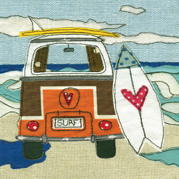 Greetings Card Camper Van and Surfing - FREE DELIVERY - Toys will be Toys
