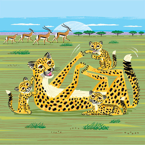 Greetings Card Cheethas and Gazelle - FREE DELIVERY - Toys will be Toys