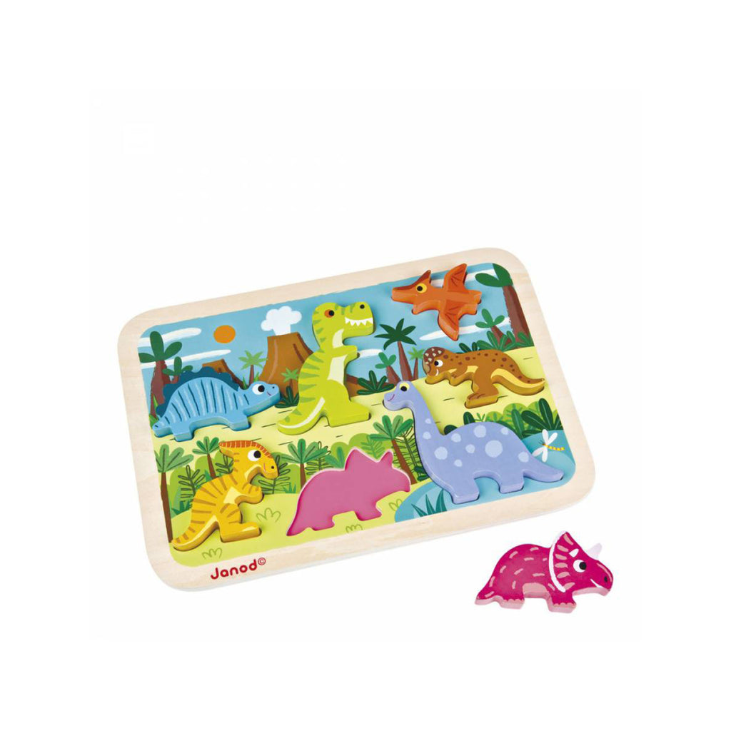 Wooden Dinosaur Puzzle in tray