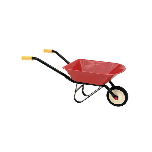 children's red metal wheelbarrow
