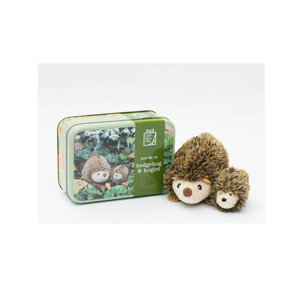Hedgehog and Hoglet Toy in a Tin showing tin and both toys