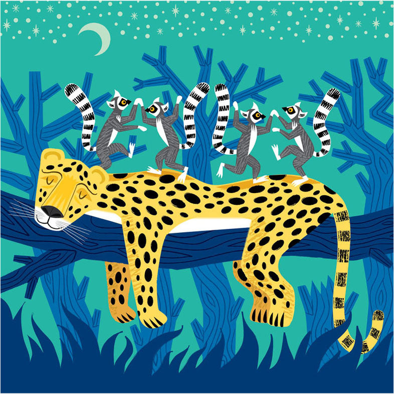 Greetings Card Leopard and Lemurs - FREE DELIVERY - Toys will be Toys