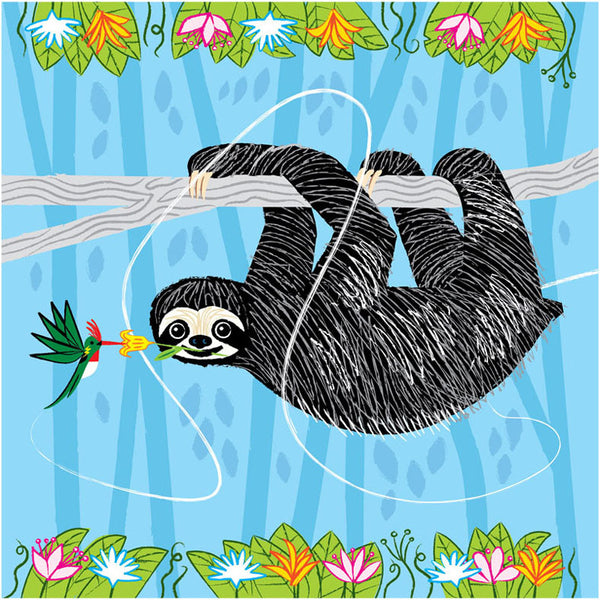 Greetings Card Sloth and Humming Bird - FREE DELIVERY - Toys will be Toys