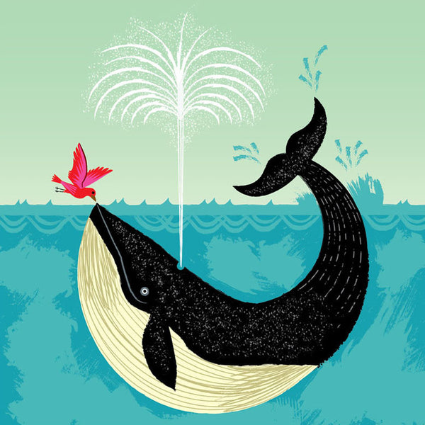 Greetings Card Whale and Bird - FREE DELIVERY - Toys will be Toys