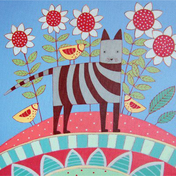 Greetings Card Striped Cat with Flowers - FREE DELIVERY - Toys will be Toys