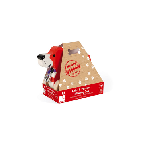 Wooden Pull Along Dog in box