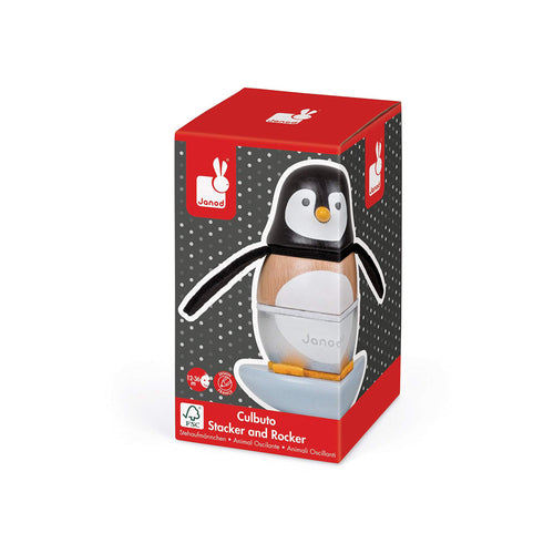 Janod Wooden Penguin Stacker in box