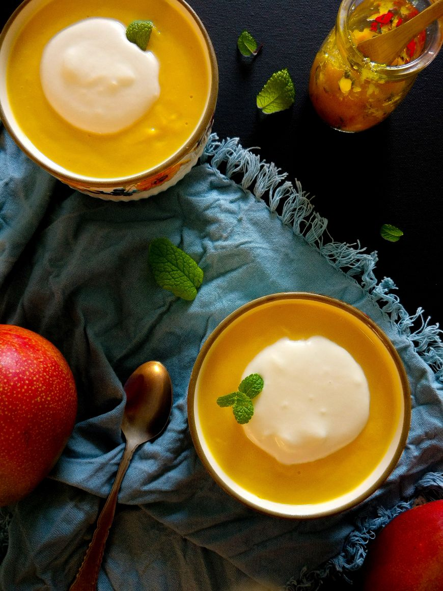 Mango Pudding with Mint Mango Jam and Pina Colada Crema