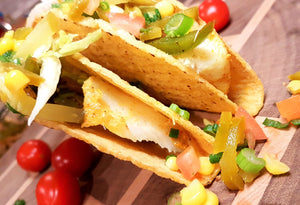 juicy, flavourful crispy cod tacos