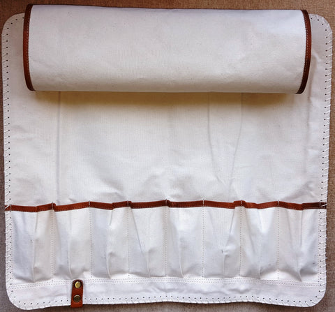 Tan Leather Knife bag with white inside