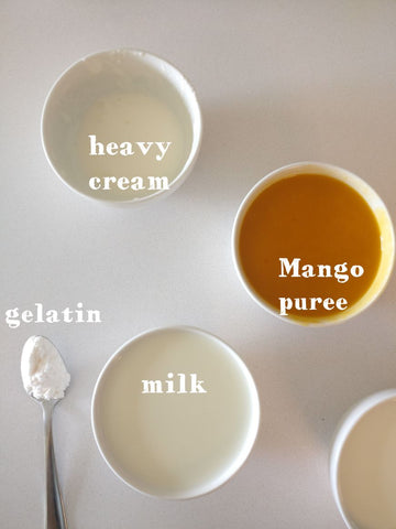 ingredients for mango pudding by chef's satchel