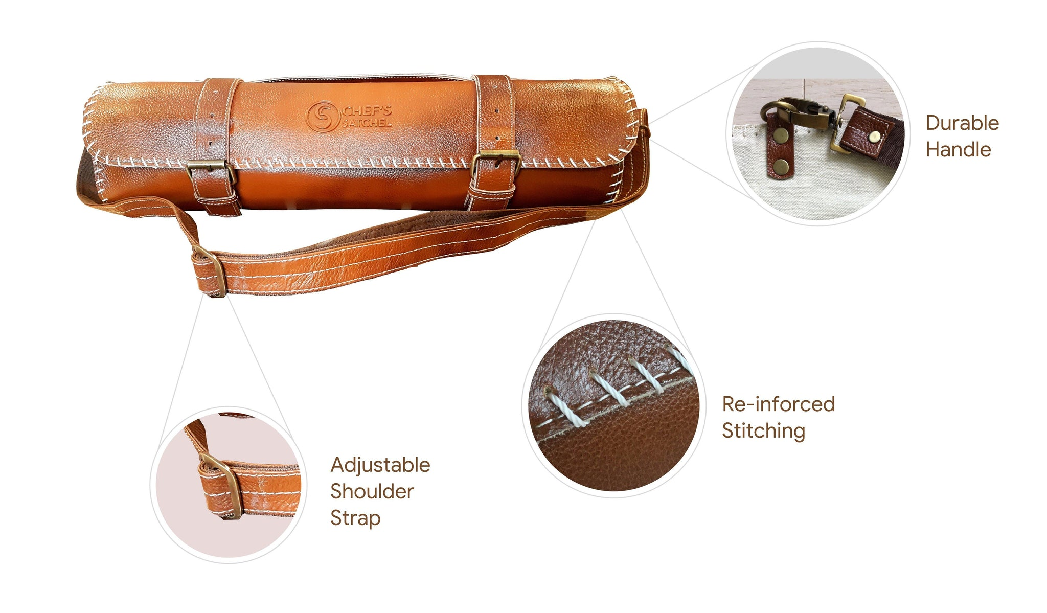 canvas leather knife bag for knife storage