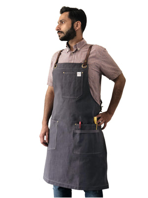 Handmade waxed canvas designer aprons for chefs and professional kitchen