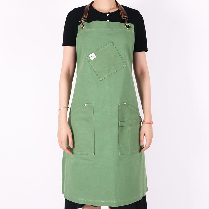 Handmade leather strap basil green apron