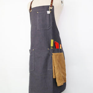 Leather Strap Waxed Canvas Aprons - Chef's Satchel