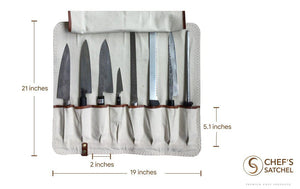 measurements for the knife roll by chef's satchel