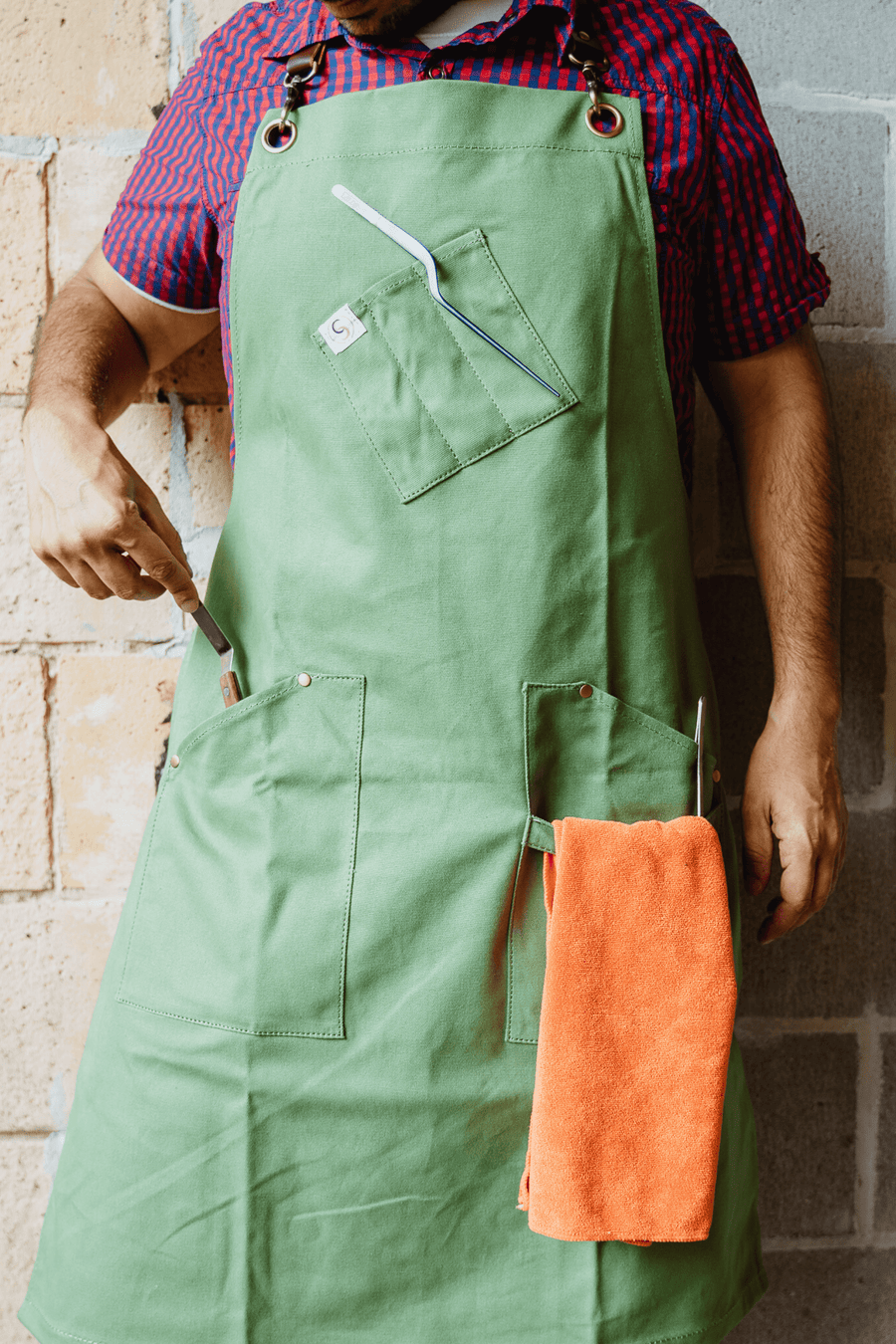 Leather Strap Canvas Basil Apron