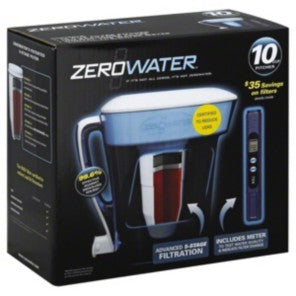 Zerowater 10-Cup Water Dispenser & Filtration System ZD-010 w/ Replacement Filter 4 Pack