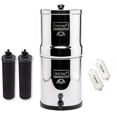 Berkey Royal Stainless Steel Water Filter with 2 Black and 2PF-2 Filters
