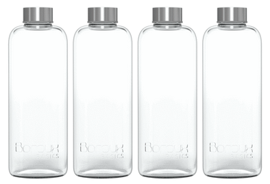 Boroux Basics 1L 4-Pack Glass Bottles