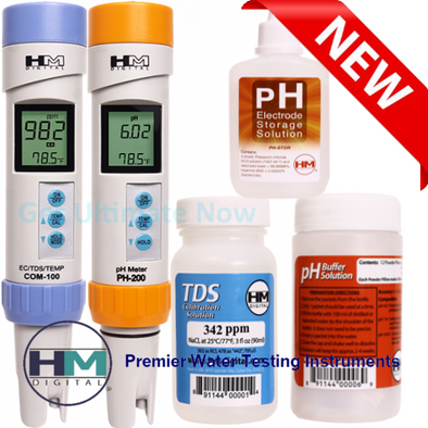 COM-100 + PH-200 + PH-STOR + PH-BUF + C342 PPM COMBO HM Digital PH/TDS/EC Meter