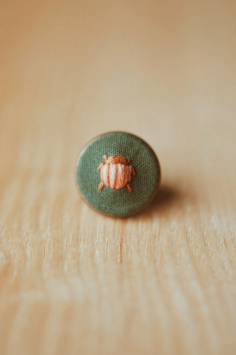 Beetle (Blush and Sienna Stripes) Embroidered Lapel Pin