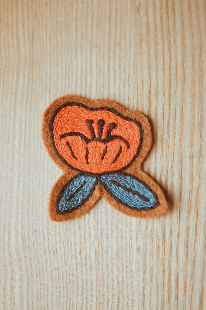 Poppy Flower (Red) Hand Embroidered Sew-On Patch
