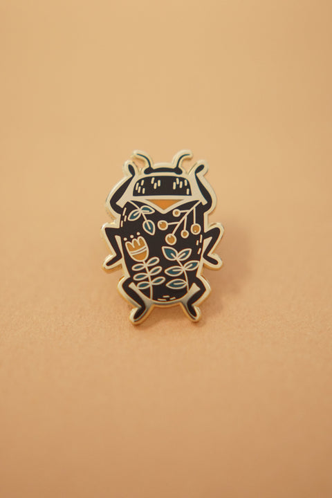 Beetle (Black) Enamel Pin