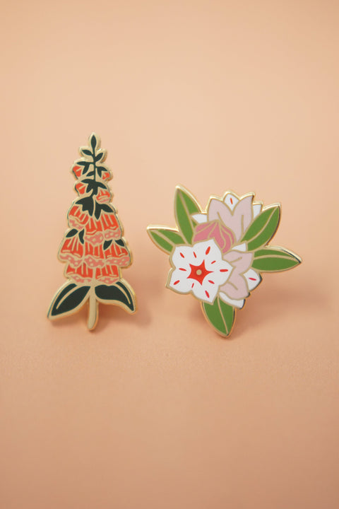Foxglove & Mountain Laurel Enamel Pin Set (Collaboration with Natelle Draws Stuff)