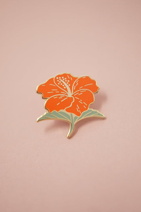 Hibiscus Flower Gumamela (Coral Red) Enamel Pin