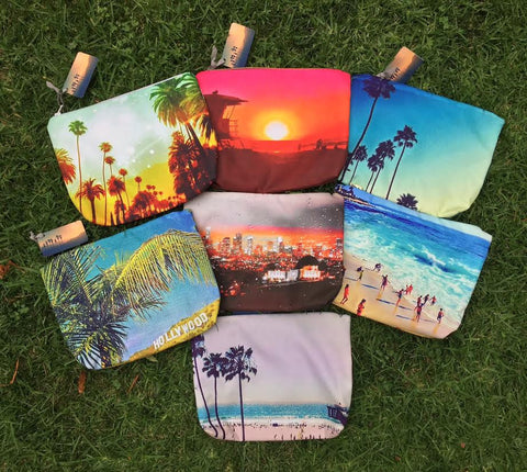Los Angeles Beach Print Pouches by Just Take Fountain