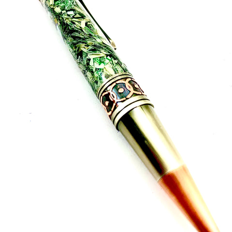 Officially approved by the US Department of the Treasury; shredded US Currency DaVinci Twist Pen! Hand turned and polished.